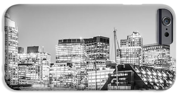 City. Boston iPhone Cases - Boston Skyline Black and White Panorama iPhone Case by Paul Velgos
