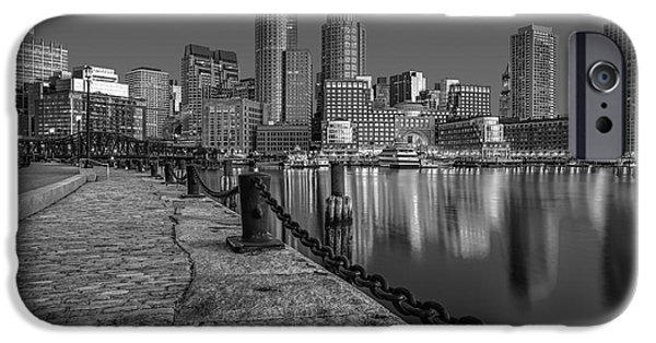 Boston iPhone Cases - Boston Skyline Dawn BW iPhone Case by Susan Candelario