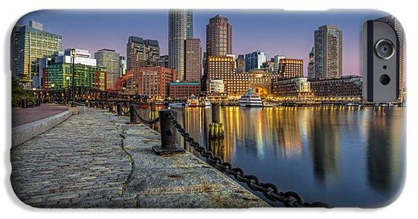 Boston Harbor iPhone Cases - Boston Skyline Dawn iPhone Case by Susan Candelario