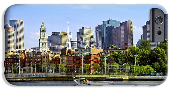 Boat iPhone Cases - Boston skyline iPhone Case by Elena Elisseeva