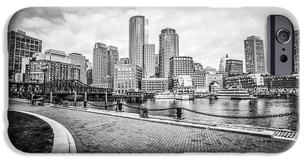 Boston Harbor iPhone Cases - Boston Skyline Harborwalk Black and White Picture iPhone Case by Paul Velgos