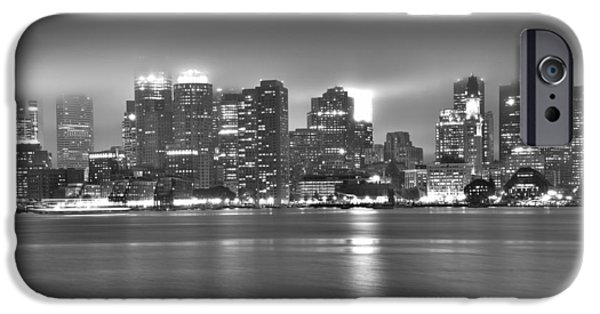 Boston Ma iPhone Cases - Boston Skyline in black and white iPhone Case by Brendan Reals