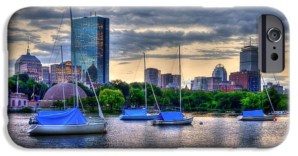 Charles River iPhone Cases - Boston Skyline over Charles River and Back Bay iPhone Case by Joann Vitali