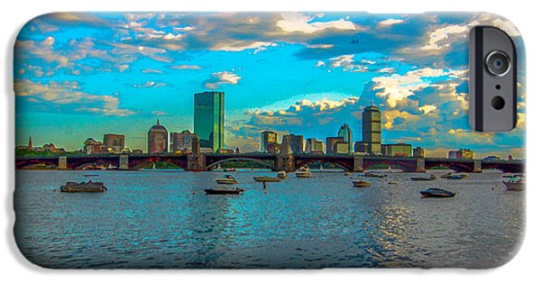 Boston Ma iPhone Cases - Boston Skyline Painting Effect iPhone Case by Brian MacLean