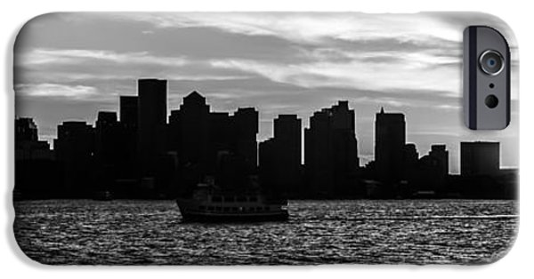 City. Boston iPhone Cases - Boston Skyline Panorama Black and White Photo iPhone Case by Paul Velgos