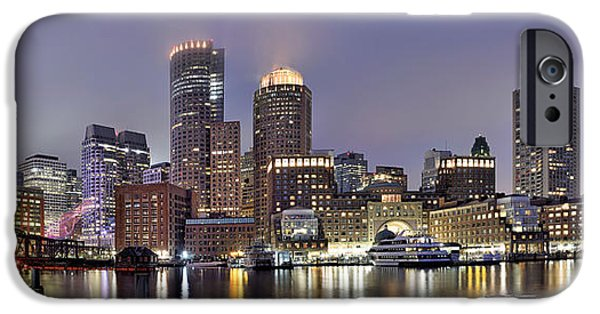 Boston Ma iPhone Cases - Boston Skyline Panorama iPhone Case by Brendan Reals