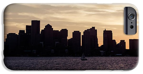 City. Boston iPhone Cases - Boston Skyline Panorama Sunset Picture iPhone Case by Paul Velgos