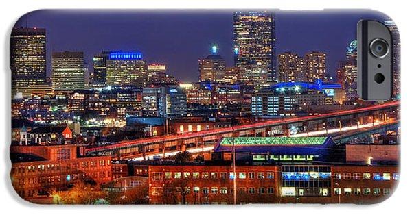 City. Boston iPhone Cases - Boston Skyline Panoramic at Night iPhone Case by Joann Vitali