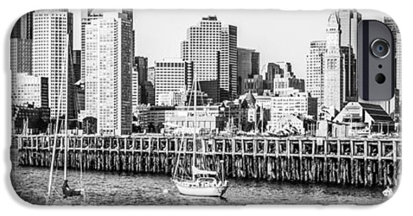 City. Boston iPhone Cases - Boston Skyline Panoramic Black and White Photography iPhone Case by Paul Velgos
