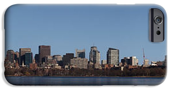 Boston Charles River iPhone Cases - Boston Skyline Panoramic In Winter iPhone Case by Panoramic Images