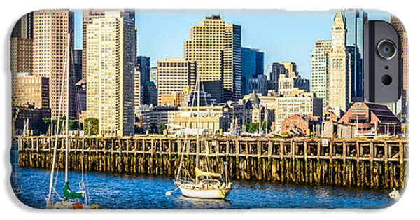 City. Boston iPhone Cases - Boston Skyline Panoramic Picture of Boston Harbor iPhone Case by Paul Velgos