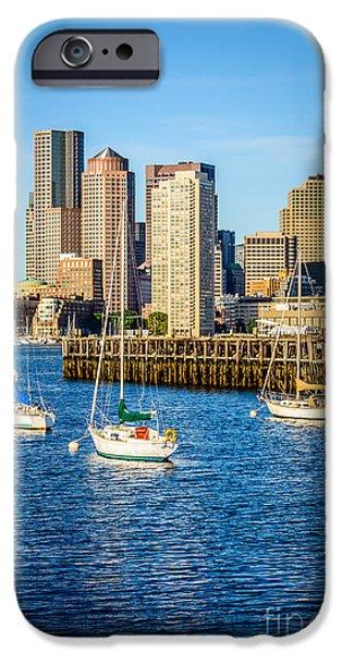 Boston Harbor iPhone Cases - Boston Skyline Photo with Port of Boston iPhone Case by Paul Velgos