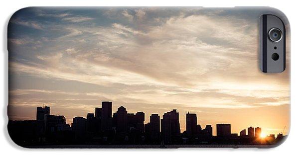Boston Harbor iPhone Cases - Boston Skyline Picture Vintage Sunset iPhone Case by Paul Velgos