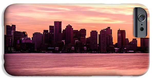 Boston Harbor iPhone Cases - Boston Skyline Picture with Colorful Sunset iPhone Case by Paul Velgos