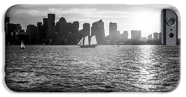 Boston Harbor iPhone Cases - Boston Skyline Sunset Black and White Photo iPhone Case by Paul Velgos