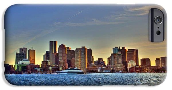 City. Boston iPhone Cases - Boston Skyline Sunset from Boston Harbor iPhone Case by Joann Vitali