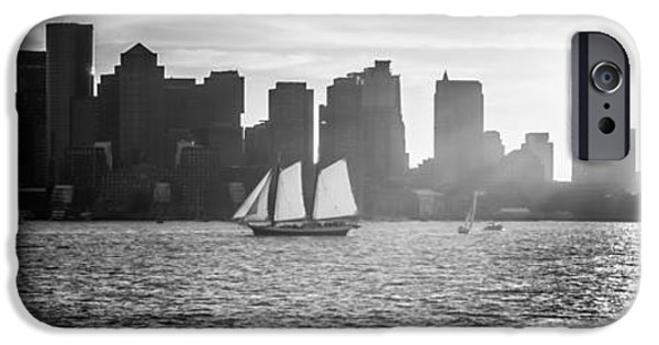 City. Boston iPhone Cases - Boston Skyline Sunset Panoramic Black and White Photo iPhone Case by Paul Velgos