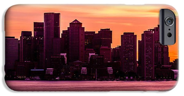 City. Boston iPhone Cases - Boston Skyline Sunset Panoramic Photo iPhone Case by Paul Velgos