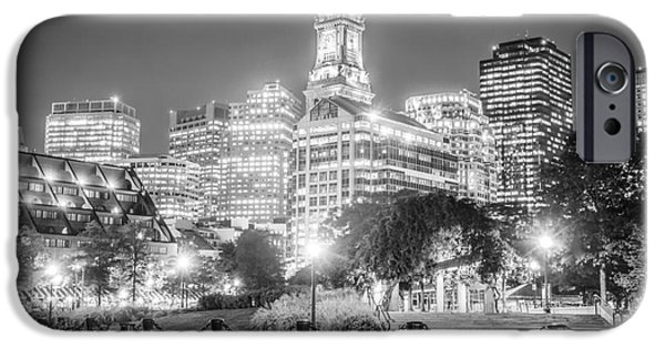 Custom House Tower iPhone Cases - Boston Skyline with Christopher Columbus Park iPhone Case by Paul Velgos