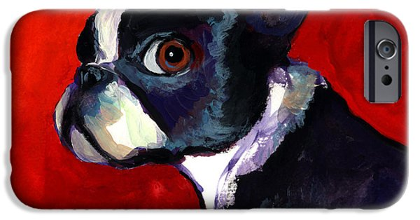 Contemporary Art Drawings iPhone Cases - Boston Terrier dog portrait 2 iPhone Case by Svetlana Novikova