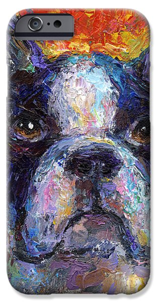 Puppies Drawings iPhone Cases - Boston Terrier Impressionistic portrait painting iPhone Case by Svetlana Novikova