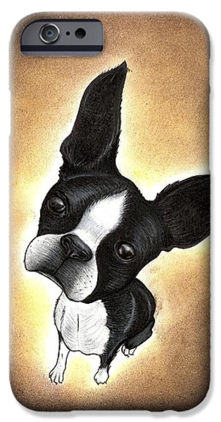Puppies iPhone Cases - Boston Terrier iPhone Case by Summer Porter