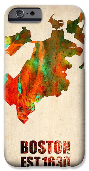 City. Boston iPhone Cases - Boston Watercolor Map  iPhone Case by Naxart Studio