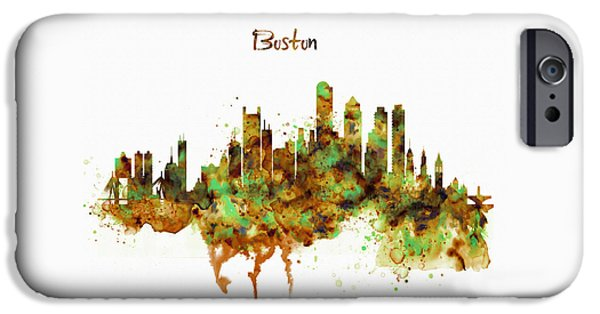 City. Boston iPhone Cases - Boston watercolor skyline iPhone Case by Marian Voicu