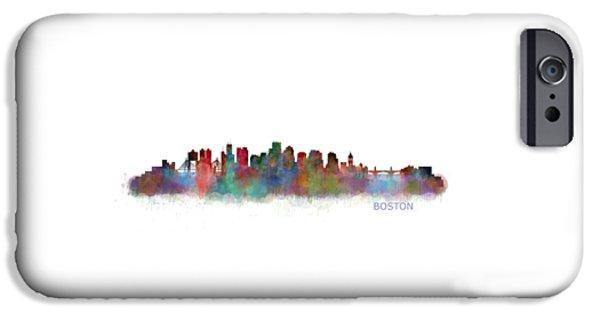 City. Boston iPhone Cases - Boston City Skyline Hq V2 iPhone Case by HQ Photo