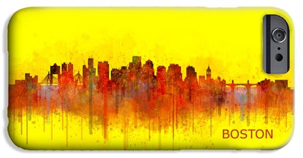 City. Boston iPhone Cases - Boston City Skyline Hq V3 iPhone Case by HQ Photo