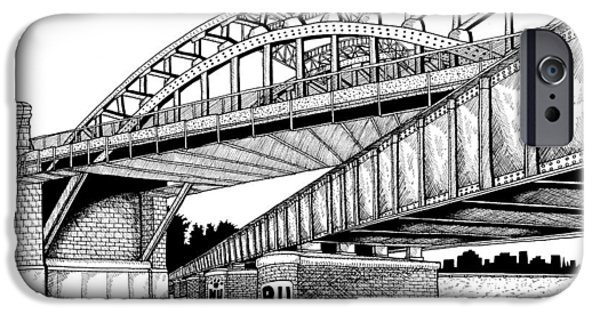 City. Boston Drawings iPhone Cases - Bostons B.U. Bridge iPhone Case by Conor Plunkett