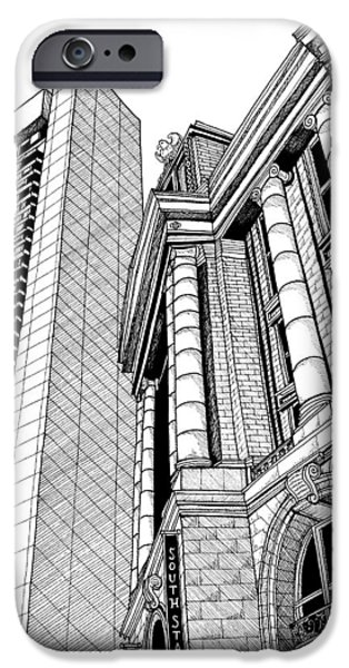 City. Boston Drawings iPhone Cases - Bostons South Station iPhone Case by Conor Plunkett