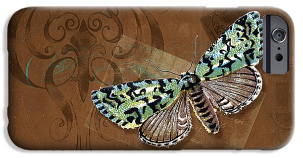 Botanical Mixed Media iPhone Cases - Botanica Vintage Butterflies n Moths Collage 1 iPhone Case by Audrey Jeanne Roberts