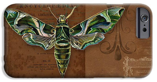 Botanical Mixed Media iPhone Cases - Botanica Vintage Butterflies n Moths Collage 2 iPhone Case by Audrey Jeanne Roberts