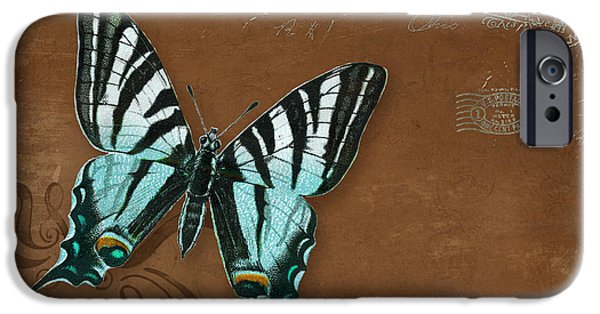 Botanical Mixed Media iPhone Cases - Botanica Vintage Butterflies n Moths Collage 3 iPhone Case by Audrey Jeanne Roberts