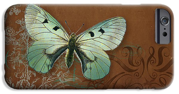 Botanical Mixed Media iPhone Cases - Botanica Vintage Butterflies n Moths Collage 4 iPhone Case by Audrey Jeanne Roberts
