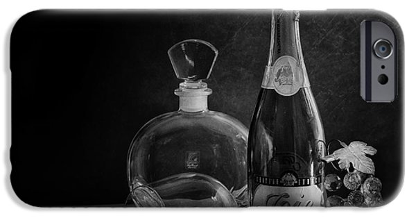 Wine Bottles iPhone Cases - Bottle Black and White iPhone Case by Charuhas Images