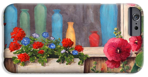 Maine Landscapes Paintings iPhone Cases - Bottles and Flowers iPhone Case by Elaine Farmer