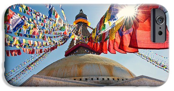 Tibetan Buddhism iPhone Cases - Boudhanath Stupa Kathmandu iPhone Case by Ulrich Schade