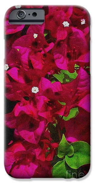 Snake iPhone Cases - Bougainvillea / Textured  iPhone Case by Elizabeth McTaggart