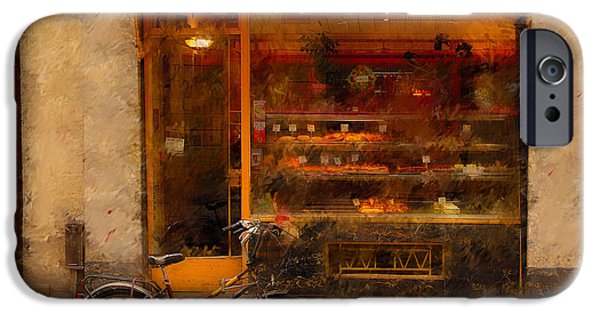Shop iPhone Cases - Boulangerie and Bike 2 iPhone Case by Mick Burkey