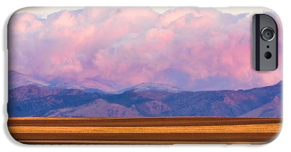 Lightning Photographer iPhone Cases - Boulder County Farm Fields At First Light Sunrise iPhone Case by James BO  Insogna