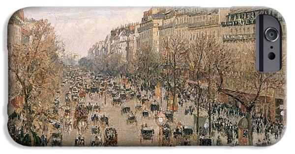 Pissarro iPhone Cases - Boulevar Montmartre iPhone Case by Celestial Images