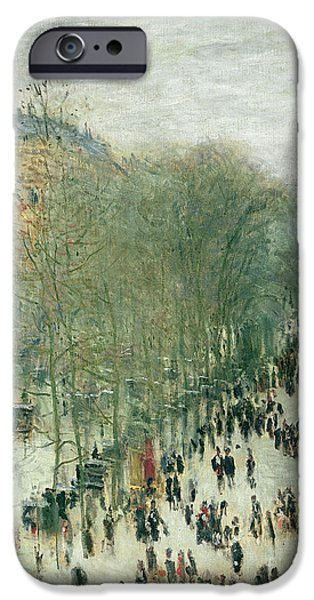 Vistas iPhone Cases - Boulevard des Capucines iPhone Case by Claude Monet