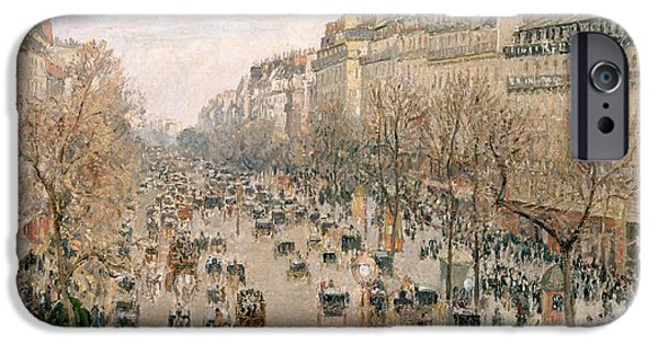Pissarro iPhone Cases - Boulevard Montmartre Afternoon Sun iPhone Case by Camille Pissarro