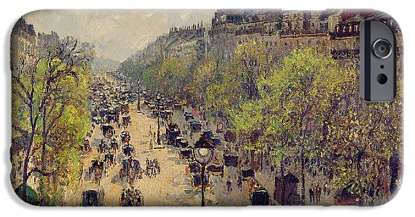 Nineteenth Paintings iPhone Cases - Boulevard Montmartre iPhone Case by Camille Pissarro