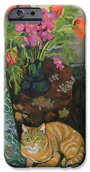 Mischief iPhone Cases - Bouquet and a Cat iPhone Case by Marie Clementine Valadon