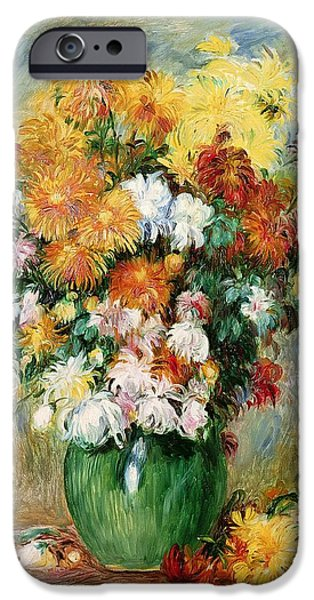 Canvas iPhone Cases - Bouquet of Chrysanthemums iPhone Case by Pierre Auguste Renoir