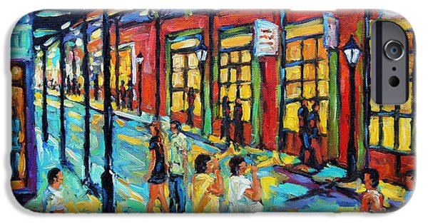Quebec Paintings iPhone Cases - Bourbon Street New Orleans by Prankearts iPhone Case by Richard T Pranke