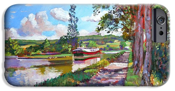 Pathways Paintings iPhone Cases - Bourgogne Canal iPhone Case by David Lloyd Glover